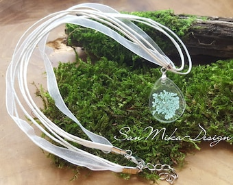 Organza necklace with resin pendant * light blue dill blossom *