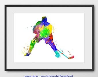 Hockey Print, Sport Wall Art, Sport Poster, Hockey Decor, Hockey Abstract, Hockey Player Watercolor Print, Hockey Art (A0270)
