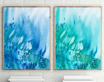 bathroom art bedroom art watercolor painting turquoise painting abstract watercolor watercolor paintings abstract paintings