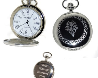 Scottish Thistle Pocket Watch Roman Numerals Gift for Best Man, Usher, Groom, Custom Engraved Birthday, Wedding or Anniversary Gift for Him
