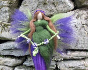 KYRA Needle Felted Wool fairy, Flower fairy, Waldorf inspired fairy doll