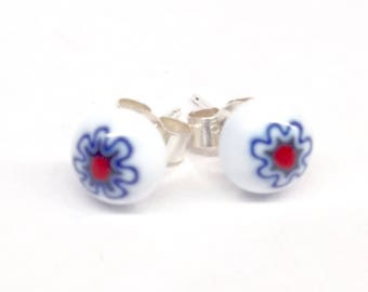Murano Glass Millefiori Stud Earrings - Red, White and Blue Flower on Sterling Silver Stud Post