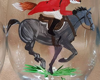 Fox and horse Fox Hunt Full Cry Gallop hand painted wine glasses.  Set of 4