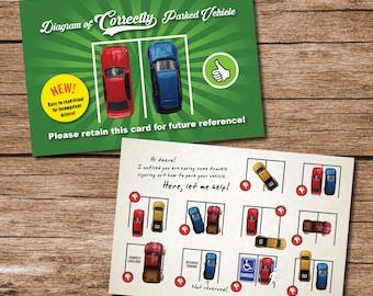 10 Pack 4x6 Printed Bad Parking Cards - 4x6 Postcard - Parking Education - Parking Instructions - Novelty Item - Gag Gift
