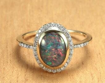 Opal & Diamond Engagement Ring 14K Gold SKU: R1878A002