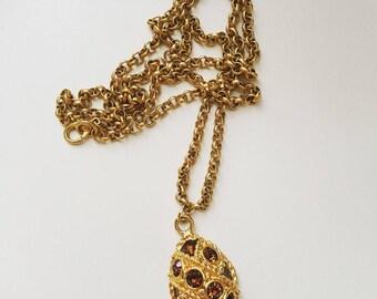 Vintage crystal half egg gold tone necklace era 1980s