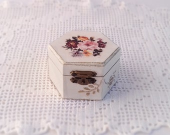 Wooden Jewelry  Box Handmade Decoupage White Storage Box With Spring Flowers For Home Decor