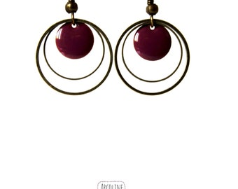 Enamelled Sequins plum earrings