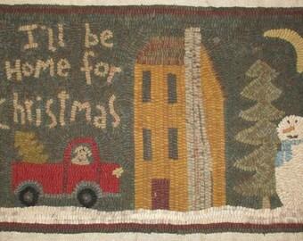 Folk Art Primitive Rug Hooking Pattern~I'll Be Home