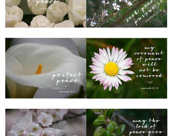 Bible Verse Cards   Peace Theme   Planner Cards   Journal Cards   White   Floral   Printable