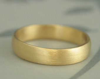 Brushed Gold Ring 18K Men's Ring Simple Wedding Ring 5mm Wide Band Half Round Ring 18K Wedding Band Men's Wedding Ring 18K Gold Band Men's