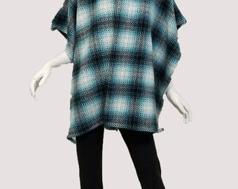 Blue and Black Plaid Cape (one size fits most)