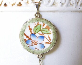 Timeless Vintage Floral and Bamboo Broken Plate Necklace on Sterling Rolo Chain