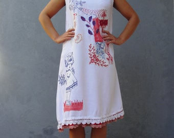 Soul Cloth Dress Hand Stitches Vintage Embroidery Linen Birds and Flowers size 10/12 EU size 40/42