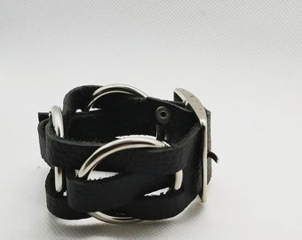 Black leather handmade woven bracelet with stainless steel rings