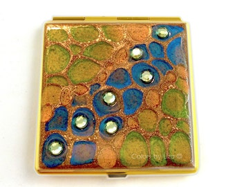 Square Compact Mirror Hand Painted Enamel Peacock Inspired Jewels Embellished with a Glossy Finish Custom Colors and Personalized Options