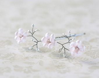 82 Silver hair pins, Pink flower hair pin, Pearl pins, Hair pins, Wedding hair accessories, Bride flower pin, Bridal hair flowers, For her.