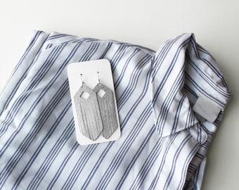 Silver Fringe Leather Drop Earrings, fringe earrings, the leather drop, leather fringe, silver earrings, silver jewelry