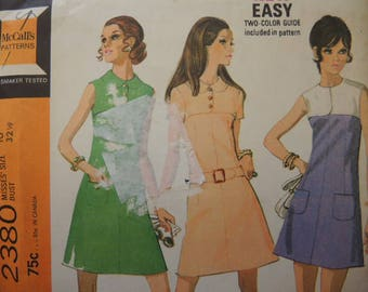 vintage 1970s McCalls sewing pattern 2380 misses dress in three versions size 10