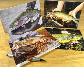16 Trout Note Cards - 4 Each of 4 Images