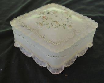 Vintage Light Pink Glass Trinket or Jewelry Vanity Box Dish 1920's - 1930's