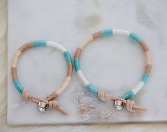 Mommy and Me, Woven Friendship Bracelets, rhinestone, pastel textile