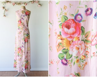 Bold Floral Print Maxi Gown - Vintage 1970's Pink Floral Dress - Colorful Rose Print Sleeveless Dress with Keyhole - Size Small