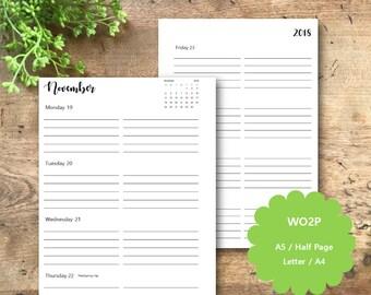 PRINTED 2018 Weekly Planner Pages, Plus Month View, Dated, A5, Half Page, Printed Weekly Planner Inserts, WO2P, Week View, Filofax, Kikki K