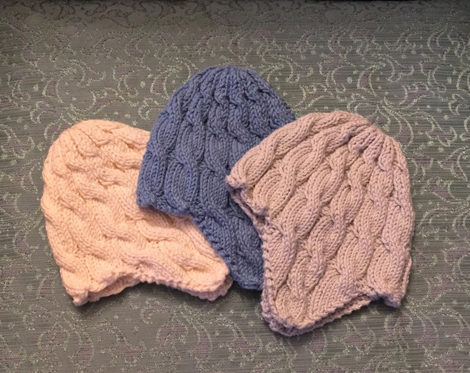 Cream Colored Cable Knit Ear Flap Baby Hat, Unisex Cabled Baby Hat