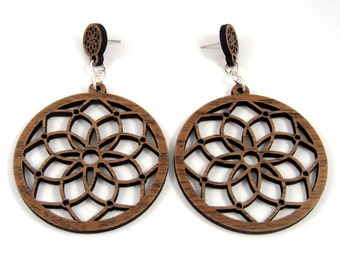 Dream Catcher Sustainable Wooden Post Earrings - 2 inch, Walnut