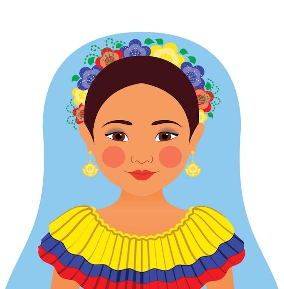Colombian Doll Art Print with traditional folk dress, matryoshka