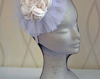 Wedding Boho Style Crochet   Fascinator,, Crochet Bridal Fascinator & Mini Hats  Rose ,Crochet Rose hair accessory