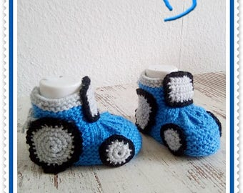 Baby shoes knitted baby shoes car Tractor