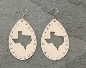 Texas rhinestone tear drop earrings