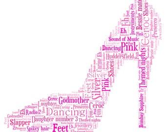 Personalised Word Art / Word Cloud - Shoe - Digital JPEG