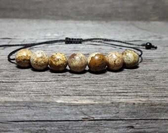 Picture Jasper Bracelet, Mens Mala Bracelet, Courage, Mens Yoga Bracelet, Calming Bracelet, Mens Crystal Healing Bracelet, Mens bracelet