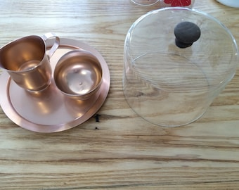SALE: Rose Gold Aluminum Server with Creamer and Sugar Bowl