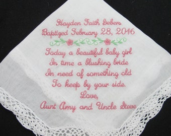Embroidered Handkerchief for Baptism