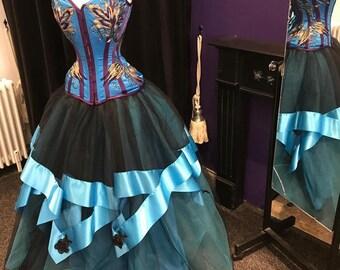 Gothic bridal skirt, Tulle wedding skirt , turquoise and black ribbon skirt