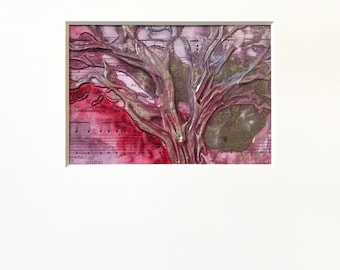 Abstract Tree Plaster Painting in Purple, Red, and Metallic Bronze with Acid-Free White Mat - Original Acrylic Art on Panel with Mat