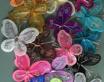72 pcs. 3 inch Nylon Organza Butterflies Wedding Butterfly & Party Decor 3""