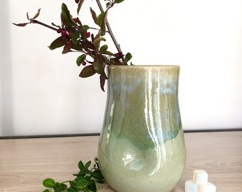 Dimple vessel - Buff stoneware clay with Seaside glaze - Vase, Carafe, Cup