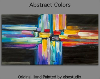 """Abstract Art  Painting, Original Texture wall Art, abstract oil painting, Multi colors Modern Home Decor 48"""" x 24"""""""