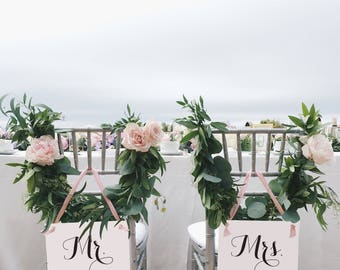 Mr. & Mrs. Chair Signs | Set of 2 Hanging Wedding Signs Head Table Chair Banners Wedding Chair Signs Bride and Groom Signs Decor 1086 BW