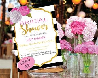 Kate Spade Inspired Bridal Shower Invitations -Pink Black White & Gold - Editable PDF File Instant Download