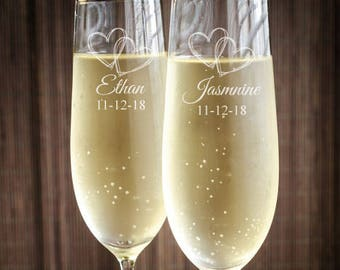 Two Hearts Wedding Personalized Toasting Flutes - Wedding Toasting Flutes - JM8446351-CF45520