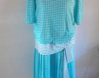 80s dress, drop waist dress, 20s dress, 80s costume, 20s costume, spotted blue dress, vintage 80s dress,
