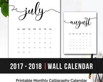 Printable Calendar 2018 Monthly Wall Calendar | 2018 Monthly Calendar Printable Desk Calendar Minimalist Calendar Calligraphy Calendar PDF