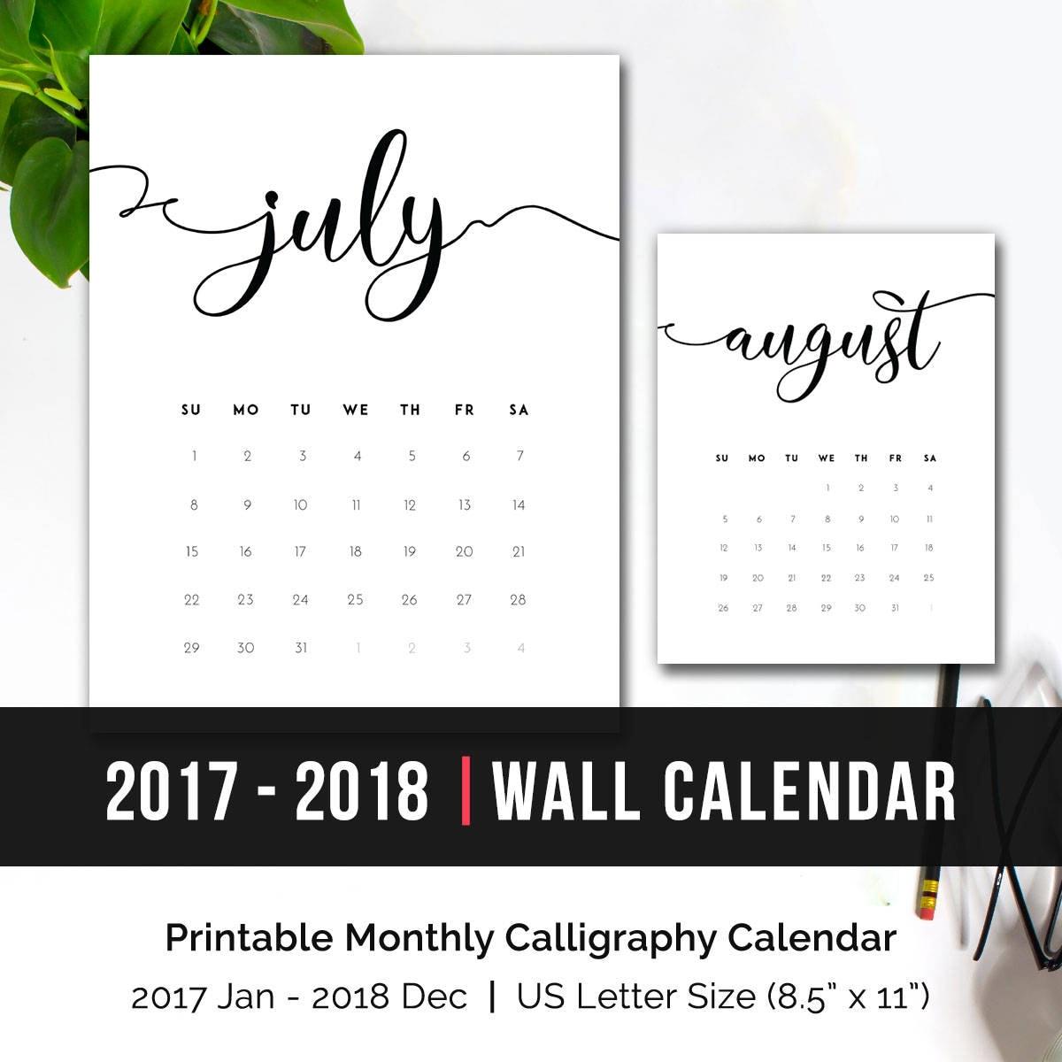 2018 Calendar Minimalist Printable : Printable calendar monthly wall