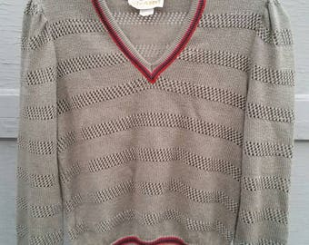 Vintage v neck pullover sweater 38 ladies size 12, Vivanti, puffy shoulder